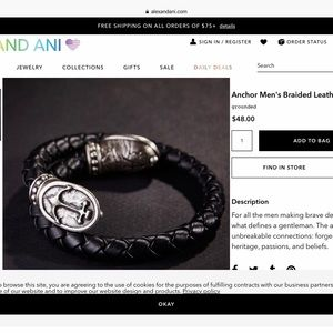 Alex and Ani Men's Anchor Leather Bracelet NWT